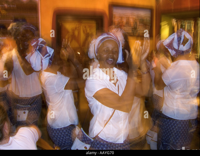south africa cape town africa cafe waiters singing and dancing  - Stock Image