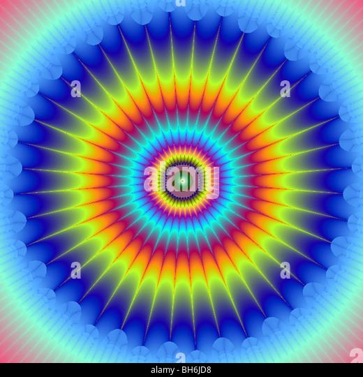fractal multi coloured star - Stock Image