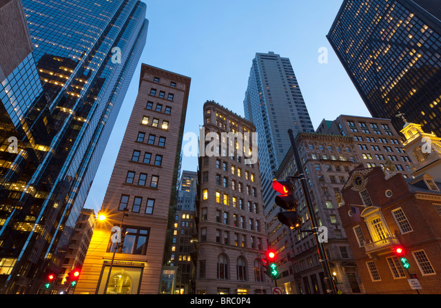 Downtown Financial District, Boston, Massachusetts, New England, USA - Stock Image
