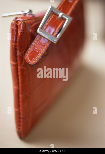 Leather purse, close-up - Stock Image