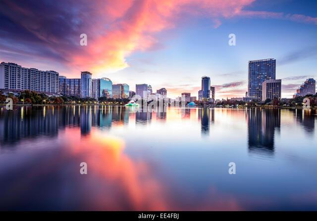 Orlando, Florida, USA downtown city skyline at Lake Eola. - Stock Image