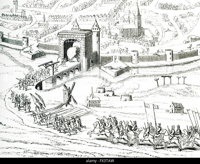 Pictured in this 1597 illustration is the surprise attack on Amiens in France by the Spanish on March 11 that very - Stock Image