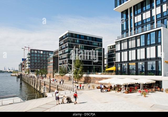 Moderne Architektur in der HafenCity in Hamburg , Modern architecture in the HafenCity in Hamburg, - Stock-Bilder