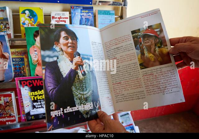 Aung San Suu Kyi article in a Burmese magazine, Myanmar, Asia - Stock-Bilder