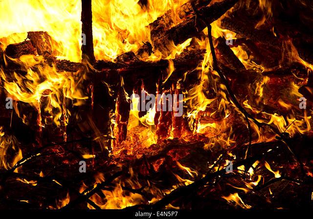 Burning wreckage - Stock Image