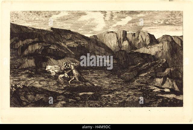Odilon Redon, French (1840-1916), La Peur (Fear), 1865, etching - Stock-Bilder