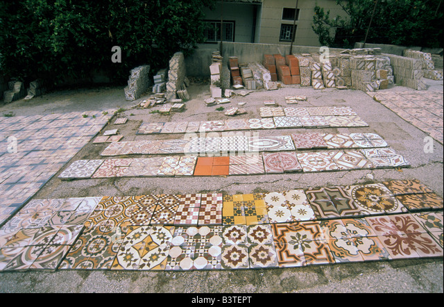 Asia, Lebanon, Beirut. Tile and mosaic refurbishing factory. - Stock Image