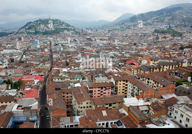 View over the historic centre of Quito, Ecuador - Stock Image
