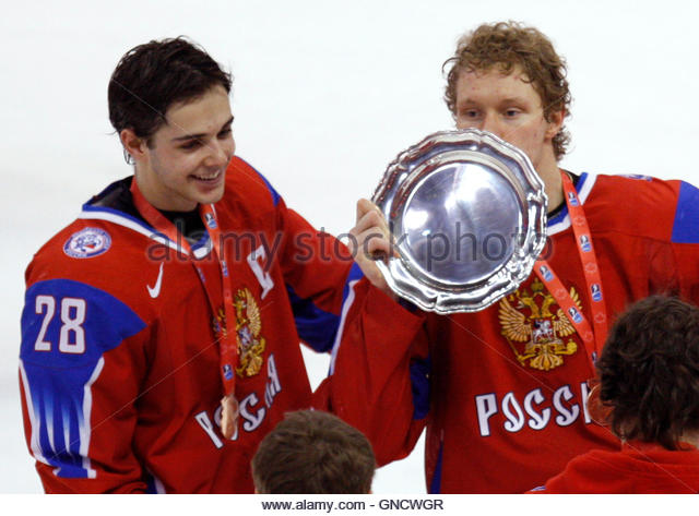 Russia's Nikita Filatov and Sergei Andronov celebrate after beating Slovakia in the bronze medal game at the - Stock Image