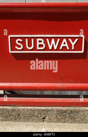 Urban Scene of a Red Subway Entrance Sign in Philadelphia Pennsylvania USA Copy Space - Stock Image