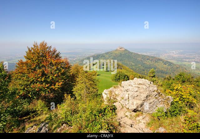 View from the popular tourist destination, lookout point towards Schaufelsen Zellerhorn zur Burg Hohenzollern Castle - Stock Image