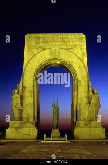 Marseille war memorial / Monument aux héros de l'armée d'Orient et des terres lointaines - at dusk - Stock Image