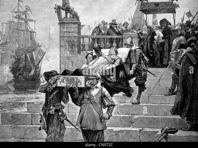 Embarkation of the body of Gustavus Adolphus at the port of Wolgast on 15/7/1633, historic engraving, 1888 - Stock Image