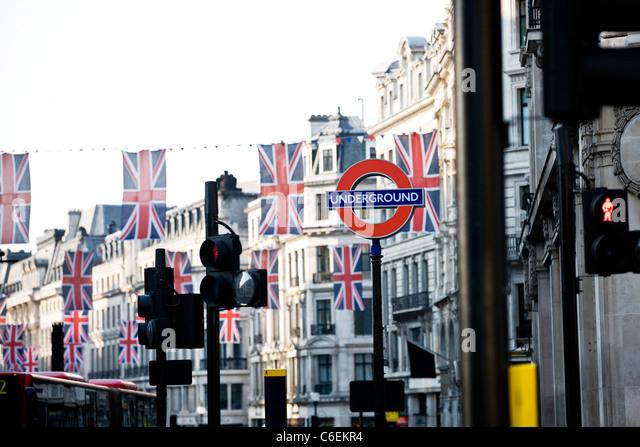 Union jack flags hanging on Regent Street, London - Stock Image
