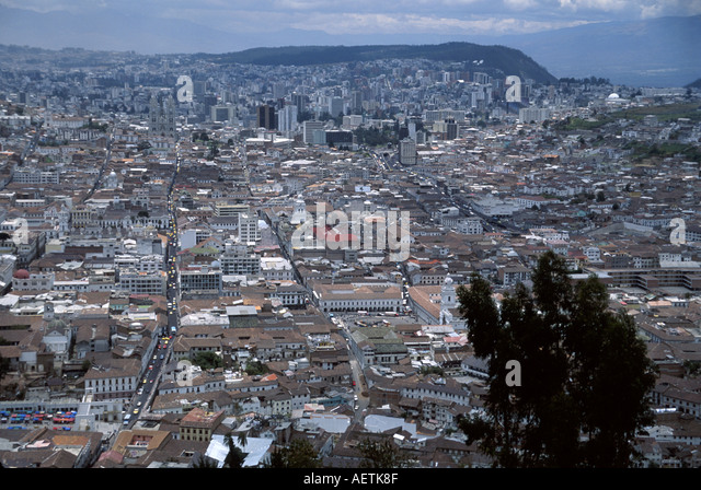 Ecuador Quito Panecillo Hill panoramic view overlook Colonial District - Stock Image