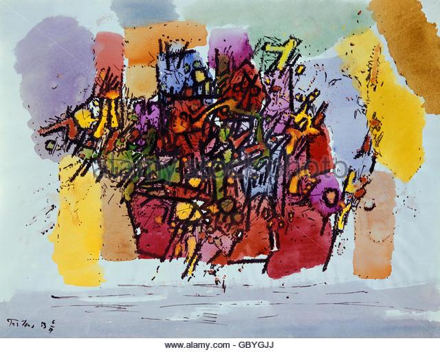 fine arts, Troekes, Heinz (1913 - 1997), painting, 'Komposition 53', watercolour, Grohmann Collection, Gauting - Stock Image