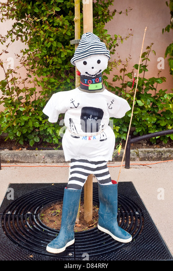 Home-made scarecrow competition entry - France. - Stock Image