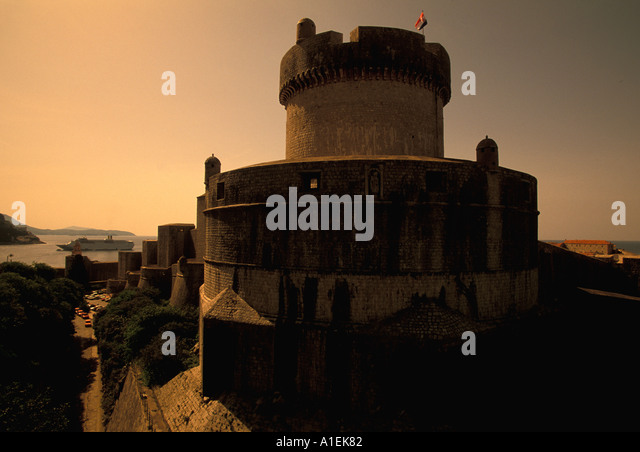 Dubrovnik Croatia Old Town Walled City sunset - Stock Image