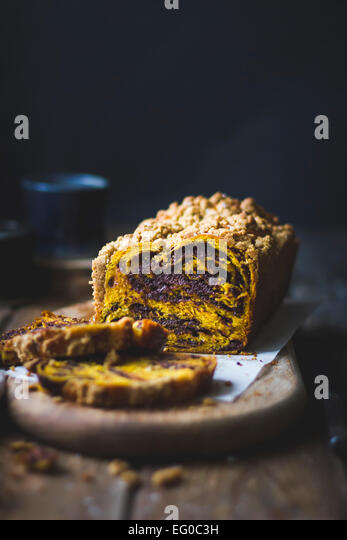 Pumpkin chocolate babka cake - Stock Image