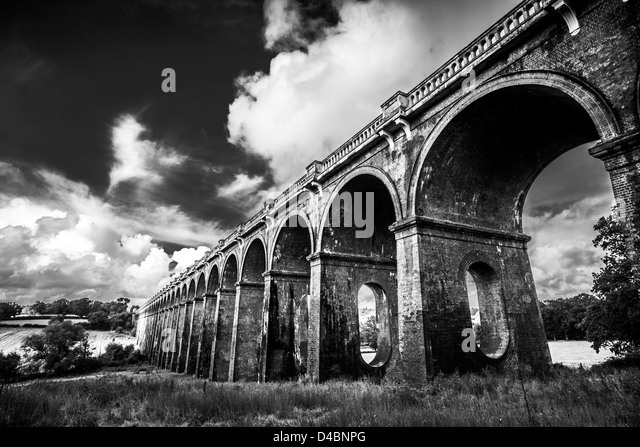 Black and White Ouse Valley Viaduct Bridge in West Sussex, UK - Stock Image