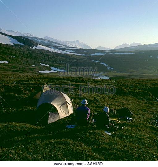 Camping by Staddajakka river, Padjelanta National Park, Norrbottens Län, Sweden. - Stock Image
