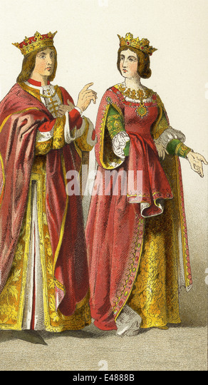 The figures here represent King Ferdinand and Queen Isabella of Spain. The illustration dates to 1882. - Stock Image