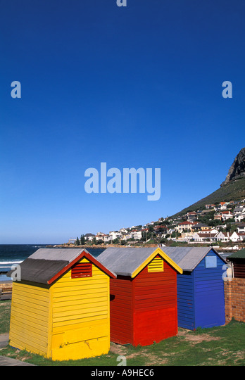 South Africa bath houses at Fish Hoek on the Cape Peninsula - Stock Image