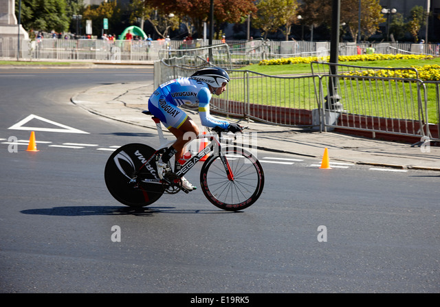 Gonzalo Moreira Morales Uruguay time trial cyclist competing in road race as part of the south american games Santiago - Stock Image
