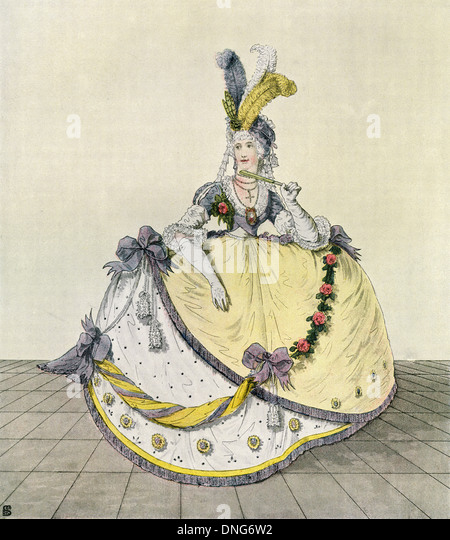 Lady in a ball gown at the English court, 1800. - Stock-Bilder