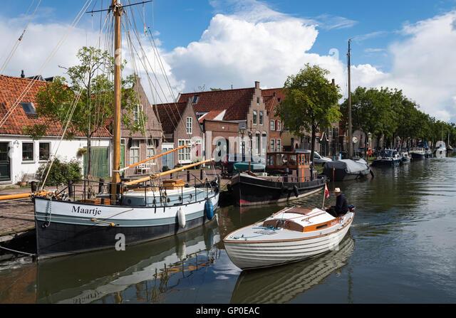 Cruising on the canal, Edam, Netherlands - Stock Image