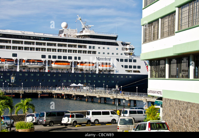 Roseau Dominica cruise port Holland America Maasdam in port - Stock Image