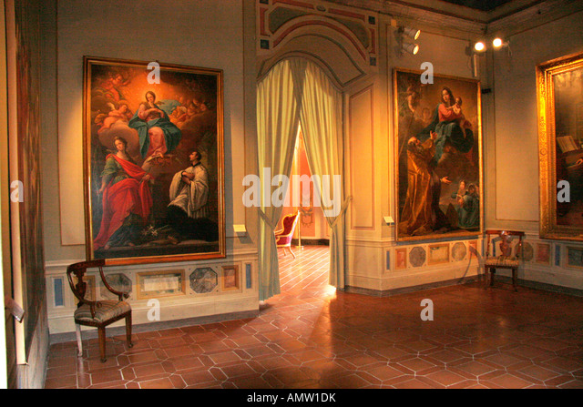 Wall and ceiling of stucco's and paintings in the wonderful Palazzo Pianetti at Jesi,medieval city in Le Marche - Stock Image