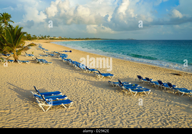 Beach at sunrise, Punta Cana, Dominican Republic, Caribbean - Stock Image