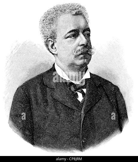 Edmondo De Amicis, 1846 - 1908, an Italian writer, Historische Zeichnung aus dem 19. Jahrhundert, Portait von Edmondo - Stock Image