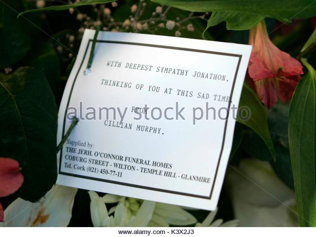 Sympathy Note at the funeral of Geraldine O'Keefe, mother of actor Jonathon Rhys Myers of 'The Tudors' - Stock Image