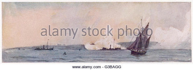 Gunboats of the Royal Navy  engaged in gunnery practice  at Spithead, off Portsmouth,  Hampshire.      Date: 1907 - Stock Image