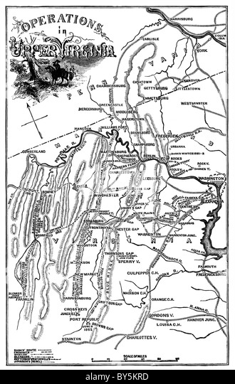 The map shows the Civil War military campaigns and battlefield sites in Upper Virginia in 1861 and 1862. - Stock Image