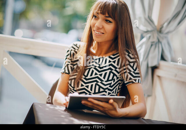 girl with phone - Stock-Bilder