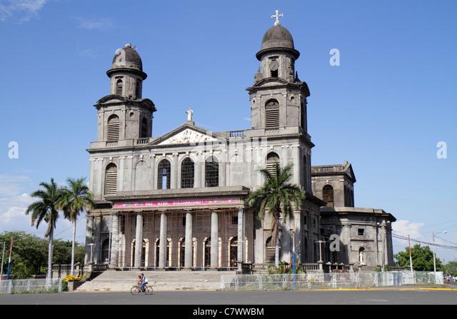 Nicaragua Managua Santiago of Managua Cathedral landmark Catholic church religion ruin earthquake damage tower dome - Stock Image