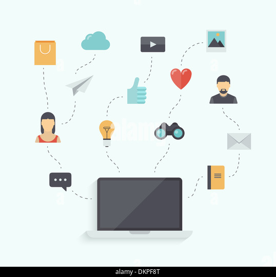 Flat design  illustration concept of using modern communication technology with stylish laptop and icons connection - Stock Image