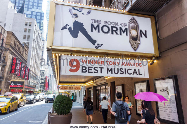 New York New York City NYC Manhattan Midtown Broadway theater district Eugene O'Neill Theatre The Book of Mormon - Stock Image