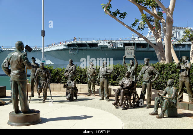 National Salute to Bob Hope and the Military, by Eugene Daub and Steven Whyte, and USS Midway, San Diego, California - Stock Image