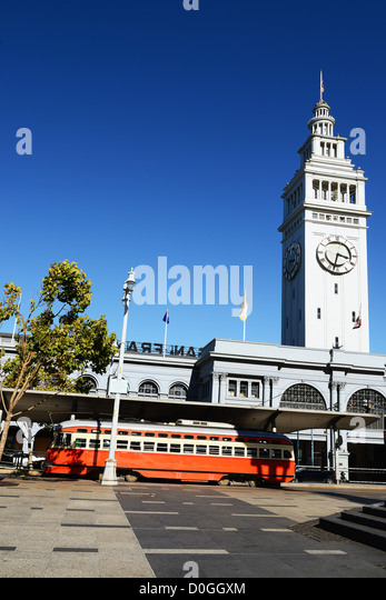 San Francisco Trolley Car moves through the street - Stock Image