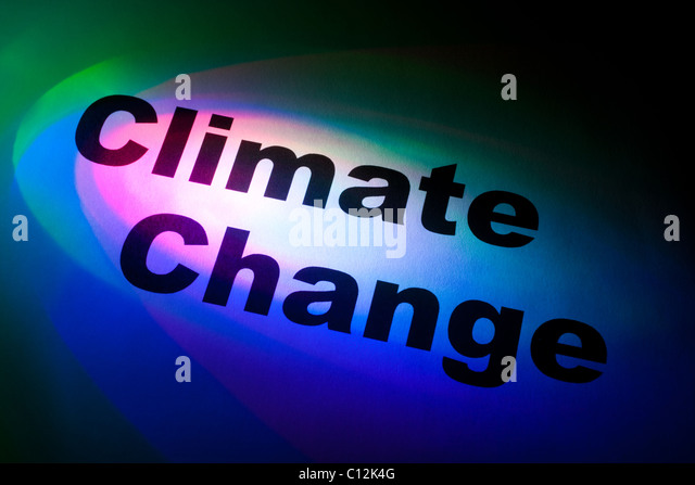Color light and word of Climate Change for background - Stock Image