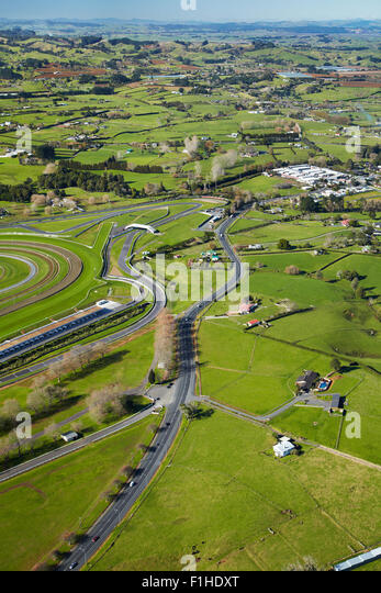 Pukekohe Park Raceway with motor and horse racing circuits, Pukekohe, South Auckland, North Island, New Zealand - Stock Image