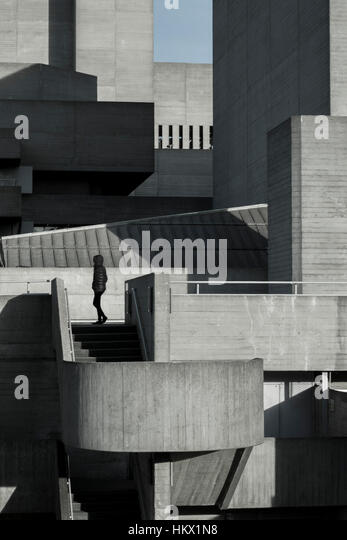 Side view of the Royal National Theatre, London, designed by Denys Lasdun. - Stock Image