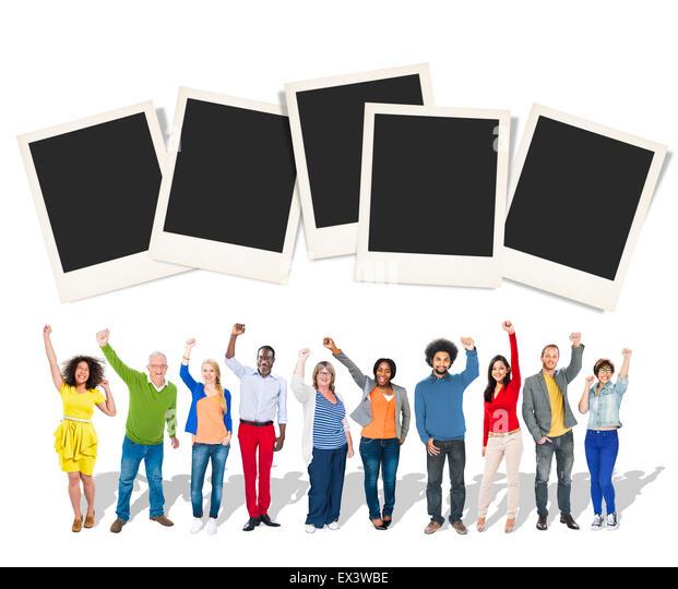 Polaroid Paper Instant Camera Photography Media Concept - Stock Image