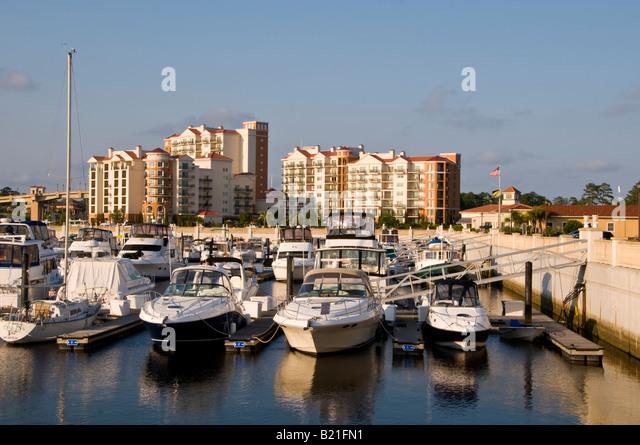 Myrtle Beach South Carolina SC marina inn at grand dunes luxury hotel resort lodging accommodations water waterway - Stock Image
