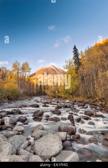 The thousands of rivers, streams and creeks are the lifeblood of Alaska, connecting the uplands to the estuaries. - Stock Image