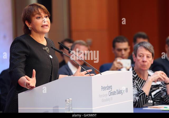 Berlin, Germany. 4th July, 2016. German Environment Minister Barbara Hendricks (SPD, r) listening to a speech by - Stock Image
